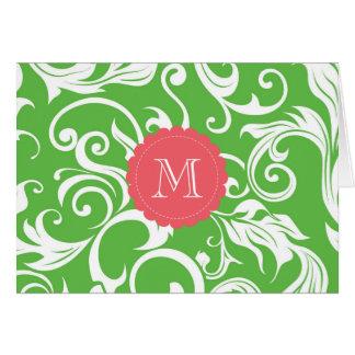 Rosa floral do verde da melancia do cartão de nota