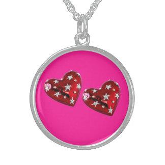Rosa fluorescente Jeweled da colar esterlina dos