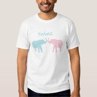 Rosa gêmeo e azul do elefante tshirt