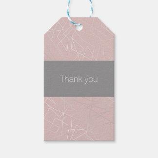 Rosa geométrico de prata moderno elegante dos etiqueta para presente