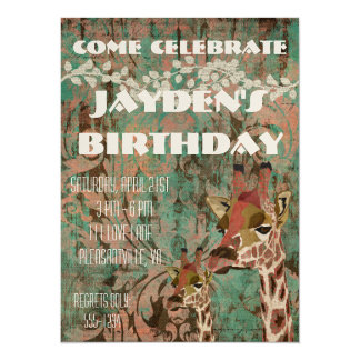 "Rosa Giraffes Damask  Birthday Invitation 5.5"" X 7.5"" Invitation Card"