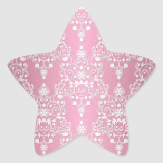 Rosa laçado feminino e branco do damasco adesivos estrelas