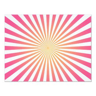 Rosa & linhas radiais alaranjadas: Modelo feito Convite 10.79 X 13.97cm