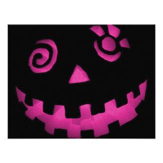 Rosa louco da cara da abóbora da lanterna de Jack  Convites Personalizado