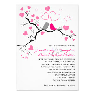Rosa Lovebirds cinzentos corações Wedding o con