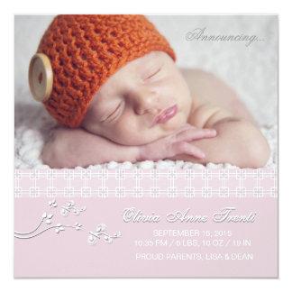 Rosa macio da paixão - anúncio do nascimento da convite quadrado 13.35 x 13.35cm