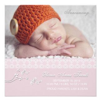 Rosa macio da paixão - anúncio do nascimento da fo convites