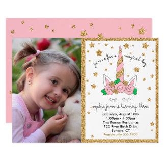 Rosa mágico e ouro do convite da foto do unicórnio