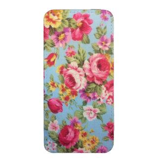 Rosa, malote floral feminino azul do iPhone 5s Bolsinha Para Celular