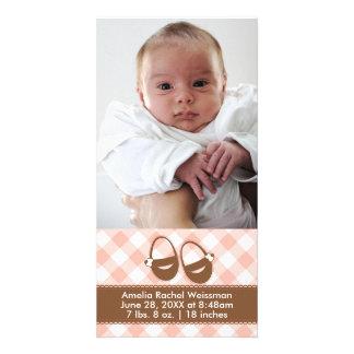 Rosa/montantes bebê de Brown - anúncio dos cartões Cartão Com Foto