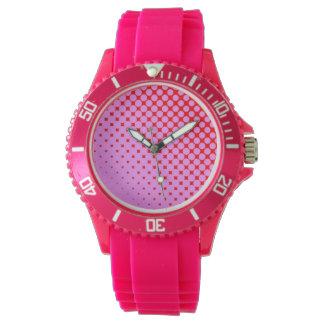 Rosa ou relógio cor-de-rosa desportivo vermelho do
