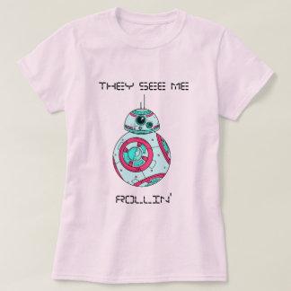 rosa pastel do rollin camiseta