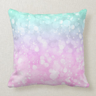 Rosa Pastel e brilho glam hortelã-verde do bokeh Almofada