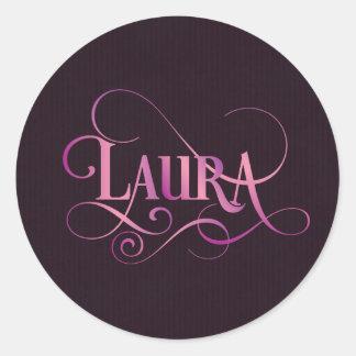 Rosa personalizado de Laura do roteiro de Swirly Adesivo
