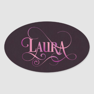 Rosa personalizado de Laura do roteiro de Swirly Adesivo Oval