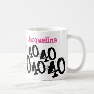 Rosa personalizado do aniversário de 40 anos caneca de café