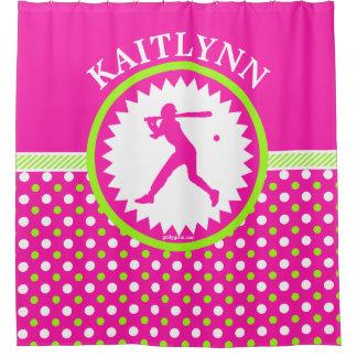 Rosa personalizado do softball - bolinhas verdes cortina para chuveiro