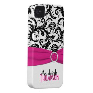 Rosa personalizado, preto, damasco floral branco capinha iPhone 4