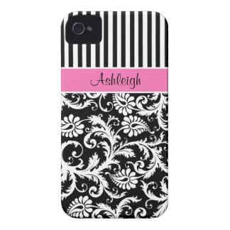 Rosa personalizado, preto, damasco listrado branco capinhas iPhone 4