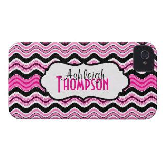 Rosa personalizado, preto, listras onduladas capinhas iPhone 4