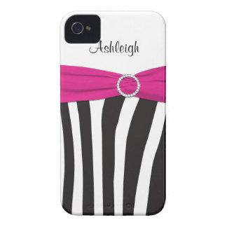 Rosa personalizado, preto, zebra branca listrada capas para iPhone 4 Case-Mate