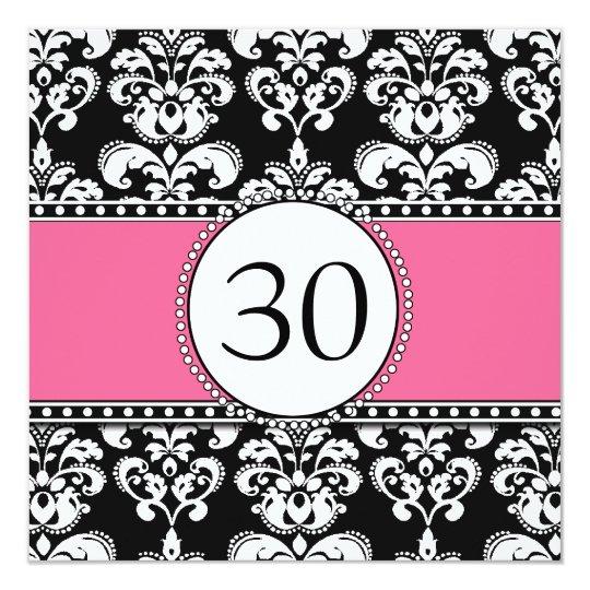 Rosa Preto Dos Convites Do Aniversário De 30 Anos Zazzlecombr