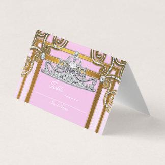 Rosa & princesa Coroa Tiara Partido Assento do Cartão De Mesa
