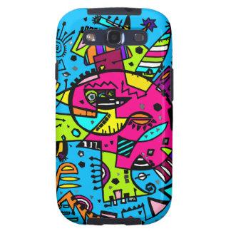 Rosa quente azul brilhante do Doodle abstrato do Capas Personalizadas Samsung Galaxy S3
