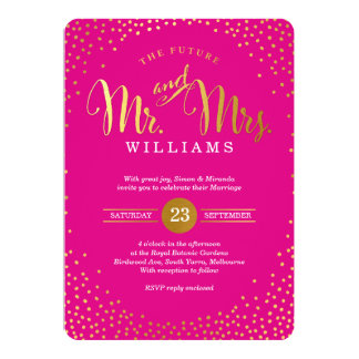 Rosa quente confetes À MODA MODERNOS do ouro do Convite 12.7 X 17.78cm