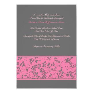Rosa quente & convite floral cinzento do casamento