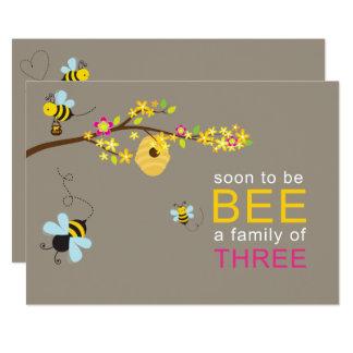 Rosa quente do convite do menino das abelhas do