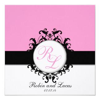 Rosa quente dos convites de casamento chiques dos