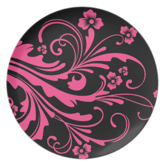 Rosa quente e casamento chique floral preto pratos
