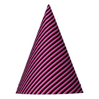 Rosa quente e diagonal preta listrados chapéu de festa