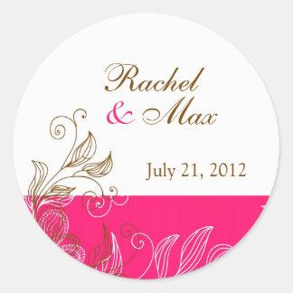 Rosa quente e etiqueta floral do casamento de adesivo