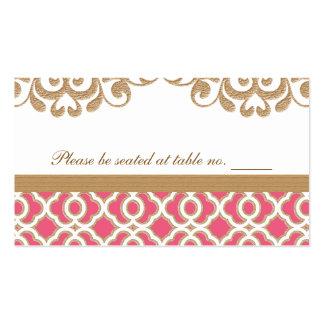 Rosa quente e lugar marroquino da mesa do casament cartão de visita