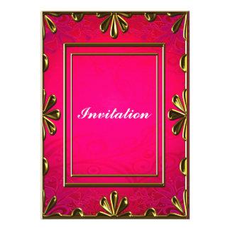 Rosa quente elegante do convite de aniversário bar