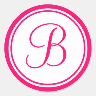 Rosa quente, etiqueta do casamento do monograma B Adesivo
