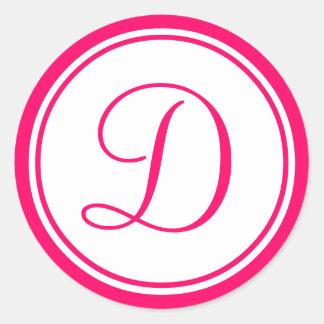 Rosa quente etiqueta do casamento do monograma D Adesivos