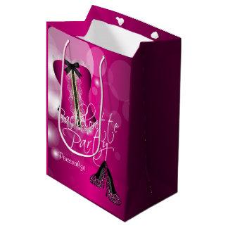 Rosa quente glamoroso Bokeh de Bachelorette   da Sacola Para Presentes Média