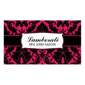 Rosa quente moderno elegante floral e preto do cartão de visita