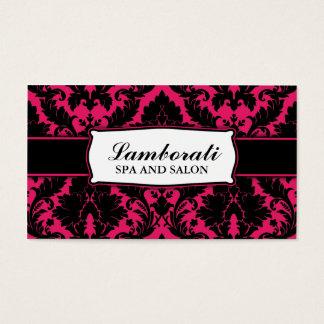 Rosa quente moderno elegante floral e preto do cartão de visitas