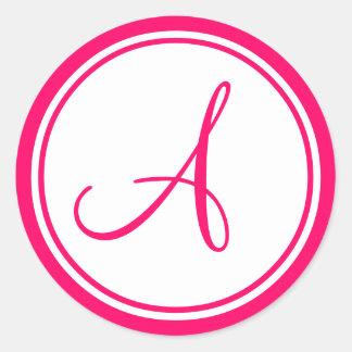 Rosa quente, monograma uma etiqueta do casamento adesivo