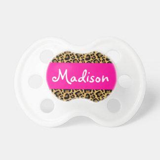 Rosa quente personalizado do leopardo chupeta de bebê
