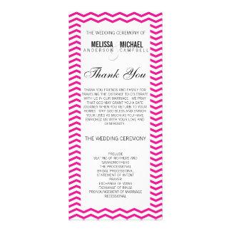 Rosa quente programa perfeito de Chevron/casamento 10.16 X 22.86cm Panfleto