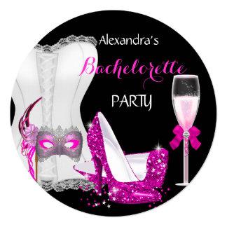 Rosa R do espartilho de Champagne Bachelorette do Convite Quadrado 13.35 X 13.35cm