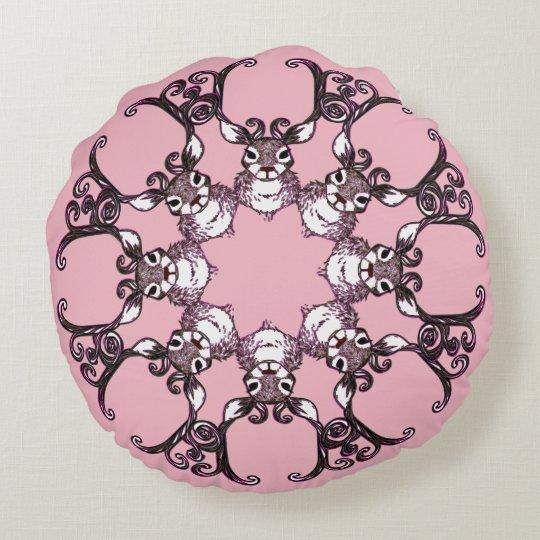 Rosa redondo do travesseiro bonito da casa de almofada redonda