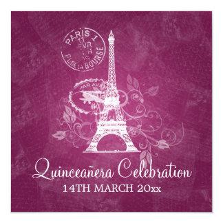 Rosa romântico de Paris do partido da celebração Convite Quadrado 13.35 X 13.35cm