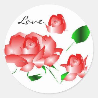 """""""Rosa rosa vermelha eu amo"""" a etiqueta Adesivo Em Formato Redondo"""