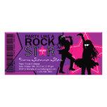 Rosa roxo do aniversário da banda da menina da est convite personalizado